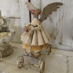 Shabby Chic primitive metal angel on wheels by AnitaSperoDesign, $375.00