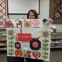"""Fran @sewbella50 has created On The Farm from Farm Girl Vintage blocks.  I love this! #farmgirlvintage #beeinmybonnet #aquiltersoasis"""