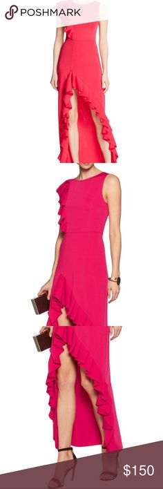 Maje Pink Ruffle Dress Perfect condition. Worn only once. Maje Dresses Maxi