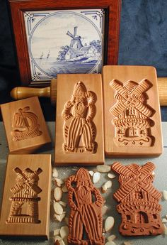 Speculaas Cookie Molds for shaping Dutch-style Windmill and St. Nicholas (Sinterklaus) Cookies