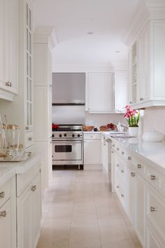 White + stainless kitchen with stone countertops. Inspiration for a butler's pantry/kitchen.