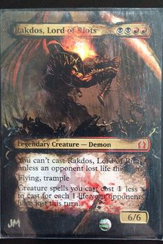 """""""Rakdos, Lord of Riots"""" with art leaking into the description and title plaques. 