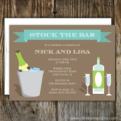 Stock the Bar Bridal Shower Invitations in River Rock by OliveBerryPaper