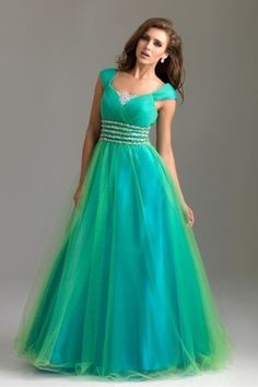 2016 Green Style Cap Sleeves Beading Floor-length Tulle Ball Gown Formal Dress - by OKDress UK