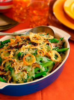 Green Bean Casserole with Havarti Cheese Crust- an upgraded classic