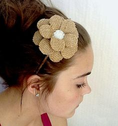 Burlapped Daisy Paper Mache Headband by MaiseysDaiseys on Etsy, $20.00