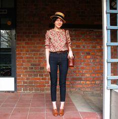 Hat, pants(!) + blouse, shoes.