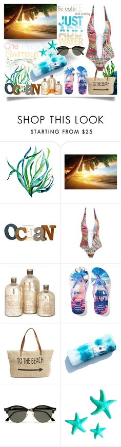 """""""Swimsuit"""" by jeneric2015 ❤ liked on Polyvore featuring Havaianas, Straw Studios, Ray-Ban, Dot & Bo, Philmore and onepieceswimsuit"""
