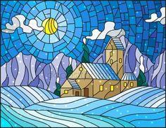 Скачать - Иллюстрации в стиле витражного стекла с абстрактной зимний пейзаж, одинокий дом посреди поля, горы, небо и падает снег — стоковая иллюстрация #159181616