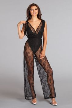 adf92020275 Sexy Be Wicked Black Wide Leg Sheer Lace Low Cut Neck and Back Ruched  Crossover Jumpsuit