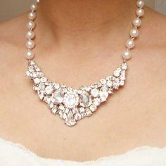 Rhinestone Bridal Bib Necklace, Vintage Style Wedding Necklace, Ivory White Pearl Statement Necklace, Crystal Bridal Jewelry, DAVINA