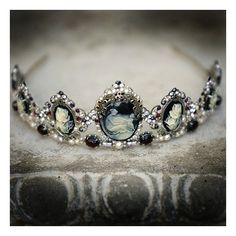 Drusilla tiara Gothic headpiece, marcasite, garnet, cameo, pearls,... ❤ liked on Polyvore featuring accessories, hair accessories, gothic hair accessories, pearl hair accessories, rhinestone tiara, pearl tiara and rhinestone hair accessories
