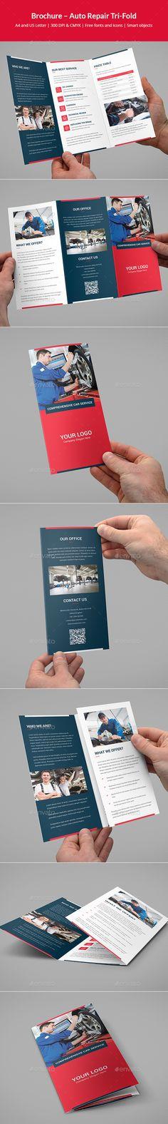 Brochure – Auto Repair Tri-Fold - #Corporate #Brochures Download here: https://graphicriver.net/item/brochure-auto-repair-trifold/19532311?ref=alena994