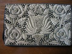 Vintage Art Nouveau hand-made metallic silver embroidered purse | eBay