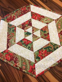Items similar to Glittery Christmas Centerpiece Quilted Table Topper Gold Outlined Fabric Homemade Quilt Hexagon End Table on Etsy Christmas Patchwork, Christmas Sewing, Primitive Christmas, Christmas Crafts, Christmas Quilting, Christmas Trees, Purple Christmas, Coastal Christmas, Quilted Christmas Gifts