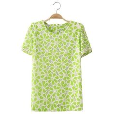 Sweetly Lace Flowers Beads Cuff Short Sleeves Blouse Green via Polyvore