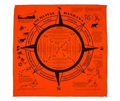 Orange Survival Bandana  Information includes Knots, star identification, animal tracks, hiking safety, first aid, weather, hydration, leave no trace and more.