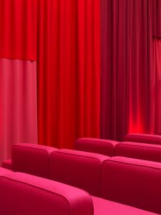 At this year's Copenhagen Documentary Film Festival, MBADV Studio flipped the cinema space on its head by way of a boundary-pushing furniture layout. Color Shapes, Color Pop, Furniture Layout, Furniture Design, Elements Of Color, Room Screen, Bold Colors, Colours, Large Sofa