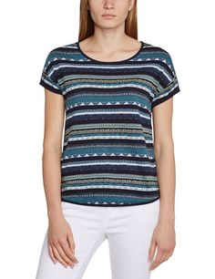 edc by ESPRIT Women's 044CC1K038 Aztec Short Sleeve T-Shirt, Blue (Deep Indigo), Size 8 (Manufacturer Size:X-Small)