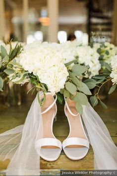White wedding shoe idea - open-toe, block heels for wedding - See more details on WeddingWire! {Jessica Winkler Photography}