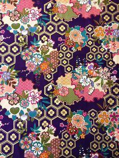 Kona Bay quilt cotton yardage Sakura Collection by kimonomomo Japanese Textiles, Japanese Prints, Japanese Fabric, Japanese Design, Japanese Art, Motifs Textiles, Textile Patterns, Print Patterns, Floral Patterns