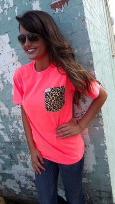 Everyday Cheetah Tee - Neon Coral