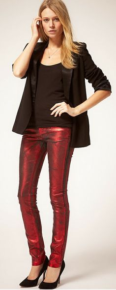 Red foil coated jeans - Girl in red metallic Jeans by ASOS