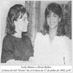 """Leila Mattos e Jlésia Ralker. Coluna do Gil """"Gente"""" do A Crítica de 17 de julho de 1983"""