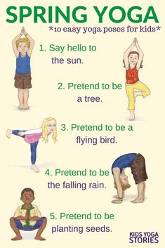 Yoga For Spring Printable Poster Yoga For Spring Celebrate Spring With These Ten Easy Yoga Poses For Kids Kids Yoga Stories Poses Yoga Enfants, Kids Yoga Poses, Easy Yoga Poses, Yoga For Kids, Exercise For Kids, Kids Workout, Exercise With Toddler, Workouts With Kids, Meditation For Children