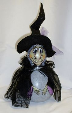 Halloween Witch Gourd  Hand Painted by FromGramsHouse on Etsy