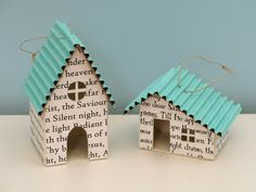 cute paper houses as ornaments White Christmas, Christmas Holidays, Christmas Decorations, Christmas Ornaments, Christmas Houses, Paper Ornaments, Christmas Paper, Christmas Carol, Diy And Crafts