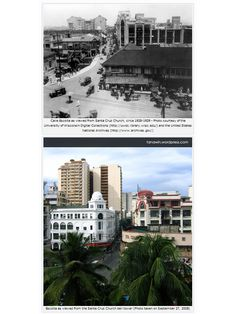 Views of Escolta from the Sta. Cruz Church tower in the 1920s and in 2008.