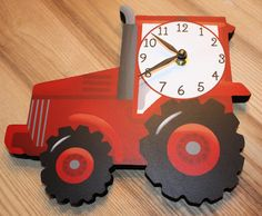 Red Tractor Wooden WALL CLOCK for Boys Bedroom Baby by ToadAndLily