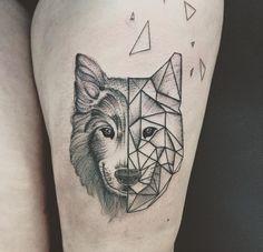 Geometric Wolf Tattoo by Jess Ika