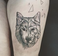Geometric Wolf Tattoo by Jess Ika