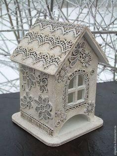 """Чайный домик """"Пряничный узор"""" - белый,чайный домик,кружево,подарок девушке"""