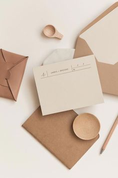 wedding stationery RSVP card or business card inspiration - this modern design is versatile stylish and on trend with it's neutral and pale color palette and natural crafted paper. Beautiful envelopes inn earthy colors and a clean layout make it perfect.