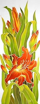 Orange Lilies(left), Silk painting-Varvara Harmon