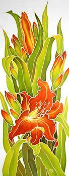 Orange Lilies(left), Silk painting-Varvara Harmon
