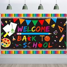 Back To School Party, First Day School, Welcome Back To School, New School Year, School Parties, Elementary Bulletin Boards, Teacher Bulletin Boards, Back To School Bulletin Boards, Banner Backdrop