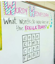 Did this in my classroom. Let's test some vocabulary skills! Boggle white board game for Wordy Wednesday. Future Classroom, School Classroom, Classroom Activities, Classroom Ideas, Teaching Themes, Word Study, Word Work, Morning Board, Morning Activities