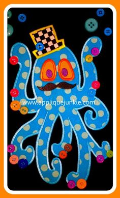 Mr Oliver Octopus Machine Applique Designs by ohhsooxford on Etsy, $5.00
