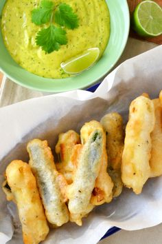 The best Beer Battered Zucchini Sticks with Lime Cilantro Aioli.