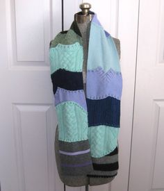 Felted Scarf made from recycled sweaters AQUA DREAM 201 by heartfeltbaby on Etsy
