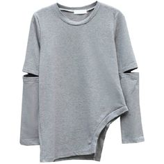 Irregular Dew Arm Sweatshirt (945 RUB) ❤ liked on Polyvore featuring tops, hoodies, sweatshirts, sweaters, shirts, sweatshirt, long sleeve sweatshirts, long sleeve shirts, cotton sweatshirts and cotton shirts