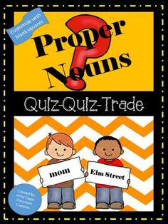 Great WHOLE GROUP activity to get your students up and moving and having fun discovering the difference between common and proper nouns! Quiz-Quiz-Trade