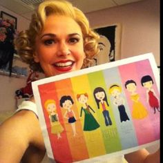 Sutton Foster and a picture that contains all the characters she has played on Broadway.