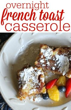 Overnight French Toast Casserole Made in Just 5 Minutes! - Overnight French Toast Casserole Made in Just 5 Minutes! Make Ahead French Toast, Overnight French Toast, Oven Baked French Toast, Overnight Breakfast, Breakfast Dishes, Breakfast Recipes, Breakfast Ideas, Brunch Ideas, Breakfast Potluck