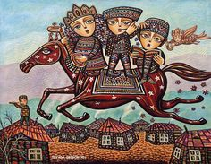 Childhood Dream Family, folklore, childhood and fairy tales through Armenian artist Sevada Grigoryan's detailed and colorful figurative paintings Art And Illustration, Illustrations, Dream Painting, Figure Painting, Pencil Painting, Gouache Painting, Original Art, Original Paintings, Figurative Kunst