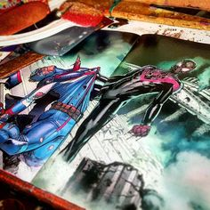 From the pages of #civilwar2  next up... #ultimate #spiderman V #hydra #captianamerica !     #art by #davidmarquez and written by #brianmichaelbendis    #milesmorales #steverogers #marvel #civilwar #avengers #inhumans #artgallery #wip #superheroes #collageart #handmade #etsyseller #captainmarvel #ironman #comics #comicart #comic2canvas #montreal